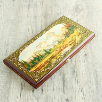 """Нарды """"Горы"""", деревянная доска 40х40 см, с полем для игры в шашки"""