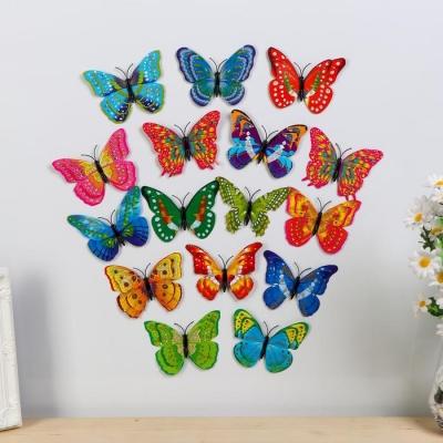 """Магнит """"Бабочка с золотым глиттером"""" двойные крылышки, МИКС"""
