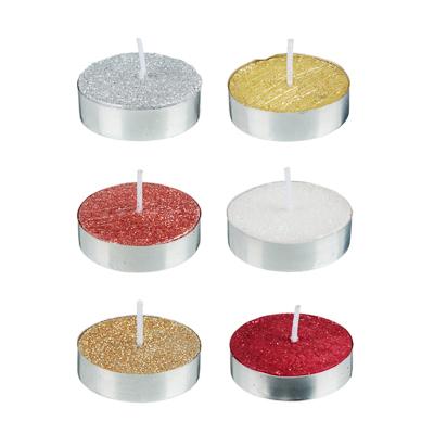 Набор свечей чайных с глиттером, 6шт, 6 цветов