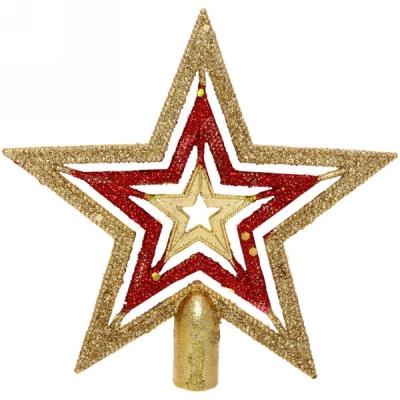 """Звезда на ёлку 15 см """"Красный блеск"""" золото"""