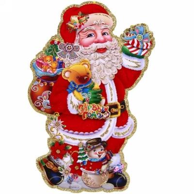 """Плакат """"Дед Мороз и снеговик"""" 34*20 см"""