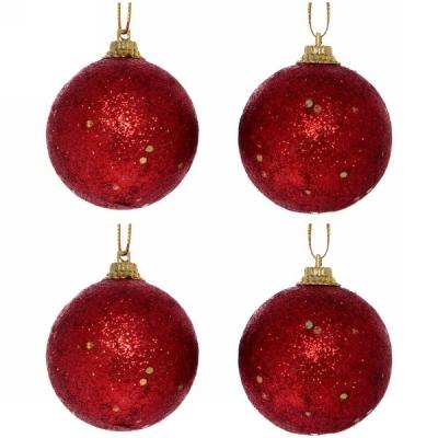 """Новогодние шары 5 см (набор 4 шт) """"Посыпка из блёсток"""", красный"""