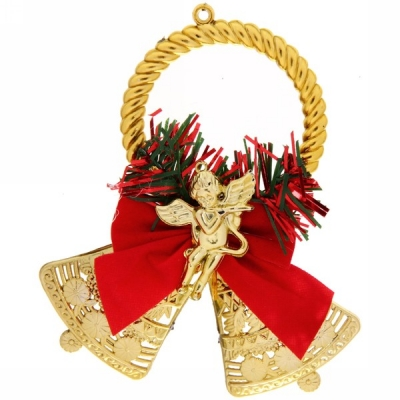 """Украшение новогоднее """"Колокольчик с ангелочком"""" 12 см, золото"""