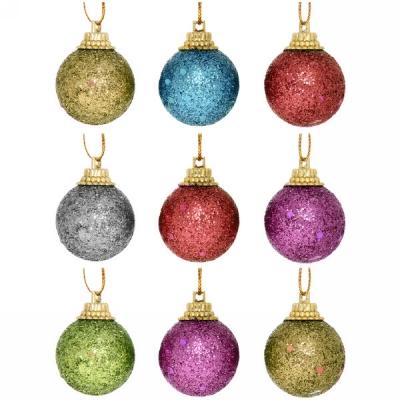 """Новогодние шары 3 см (набор 9 шт) """"Посыпка из блёсток"""", микс цветов"""