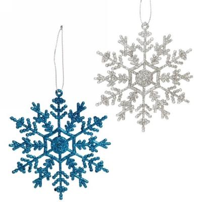 "Подвески в блестках ""Зимние снежинки"" 9,5 см (набор 2шт), синий/серебро"