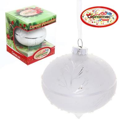 "Новогодний шар ""Морозко.Веточки на снежной капле"" 8см"