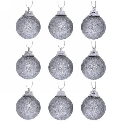"""Новогодние шары 3 см (набор 9 шт) """"Посыпка из блёсток"""", серебро"""