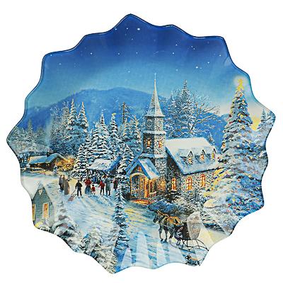 Зимний пейзаж Блюдо круглое 25х2см, стекло