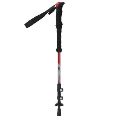Палка трекинговая, телескопическая, 3-х секц, до 135 см, цвет красный