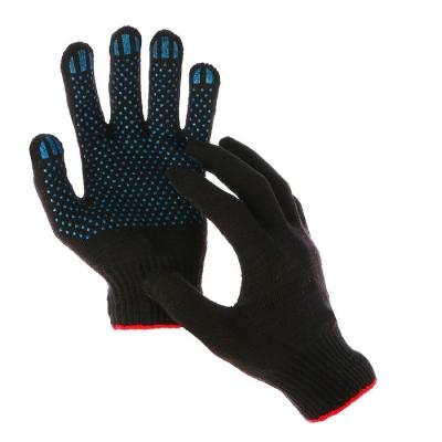 Перчатки, х/б, вязка 10 класс, 5 нитей, размер 9, с ПВХ точками, чёрные