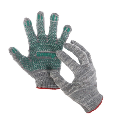 Перчатки, х/б, вязка 10 класс, 5 нитей, размер 9, с ПВХ точками, серые, Greengo