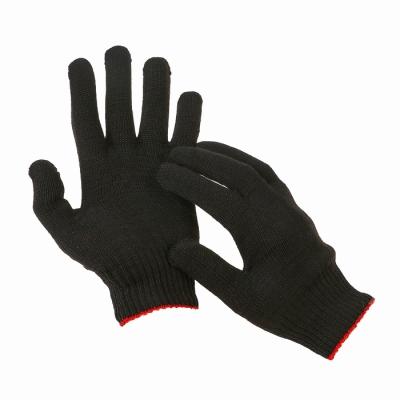 Перчатки, х/б, вязка 7 класс, 5 нитей, размер 9, без покрытия, чёрные