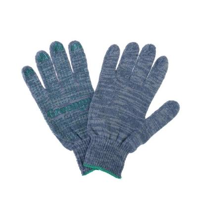 Перчатки, х/б, вязка 10 класс, 4 нити, размер 9, с ПВХ точками, серые