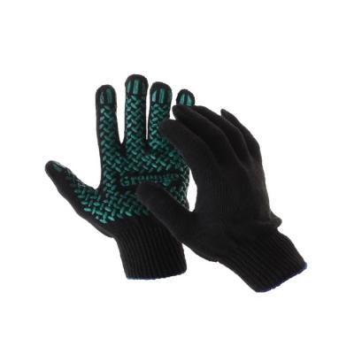 Перчатки, х/б, вязка 10 класс, 4 нити, размер 9, с ПВХ протектором, чёрные, Greengo