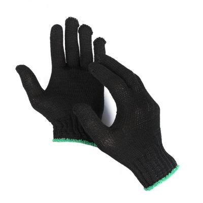 Перчатки, х/б, вязка 7 класс, 3 нити, размер 9, без покрытия, чёрные