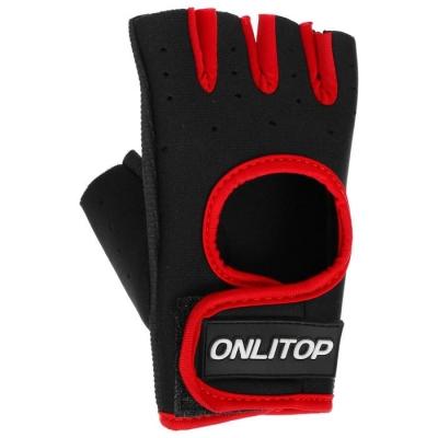 Перчатки для фитнеса ONLITOP, размер S, неопрен, цвет чёрный/красный