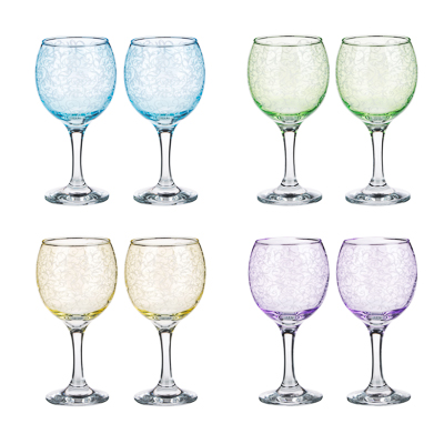Набор бокалов 2шт для вина, 250 мл, с гравировкой, 4 цвета