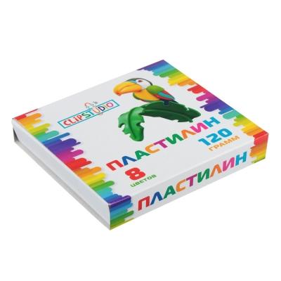 ClipStudio Пластилин 8 цветов 120 грамм, в картонном выдвижном пенале