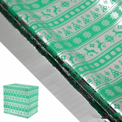 """Пленка металлизированная """"Северные олени"""", светло-зеленый, 50 х 70 см"""