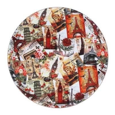 Поднос круглый с антискользящим покрытием ПВХ, пластик, 35,5см