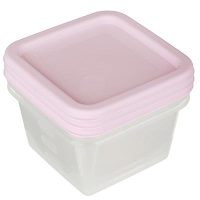 Набор контейнеров квадратных, 3шт, 0,4л, пластик, 3 цвета