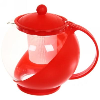 Чайник заварочный стеклянный 1250 мл Комби с пластиковым ситом красный