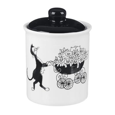 MILLIMI Черный кот Банка для хранения, 550мл, 10х13см, керамика