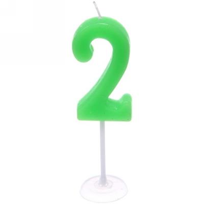 """Свеча для торта Цифра Самоцвет """"2"""" (10 см)"""