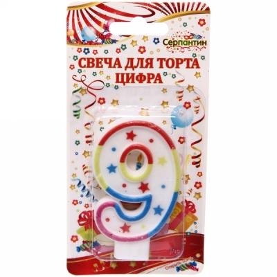 """Свеча для торта Цифра Радуга """"9"""" 6,7см"""