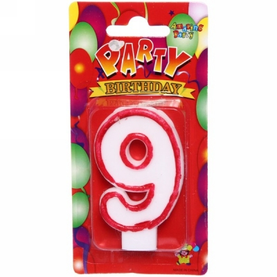 """Свеча для торта Цифра """"9"""" (6,7см)"""
