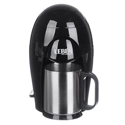 LEBEN Кофеварка капельная 400Вт, на одну чашку 150мл, корпус пластик, отделка нерж