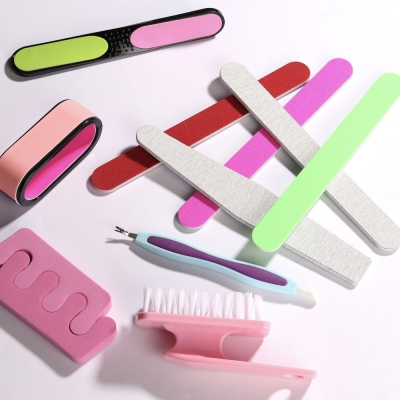 ЮниLook Пилка для ногтей шлифовальная овальная 2-х сторонняя, 180/180 грит, ЭВА, 17,8см, 6 цветов