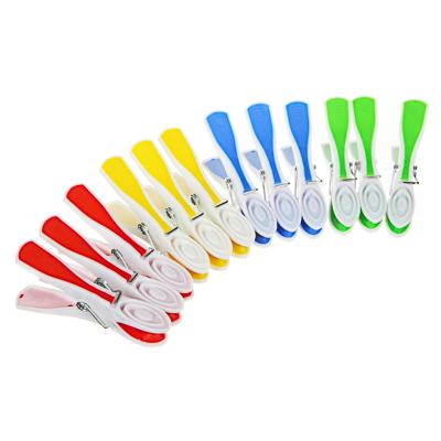 Набор прищепок 12шт с силиконовыми держателями, пластик, цветные