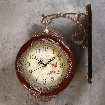 """Часы настенные двойные, серия: Садовые, """"Розы"""", коричневые, 33х41 см"""