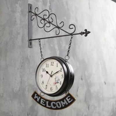 """Часы настенные двойные, серия: Садовые, """"WELCOME"""", d=20 см"""