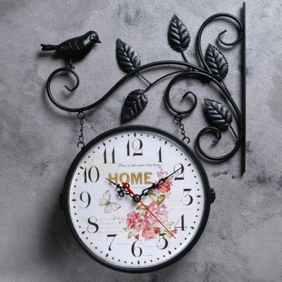 """Часы настенные, серия: Интерьер, """"Птичка на ветке"""", дискретный ход, 23 х 23 см, d=21 см"""
