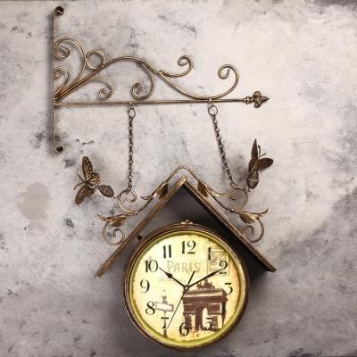 """Часы настенные двойные, серия: Садовые, """"Скворечник"""", 42х77 см,"""