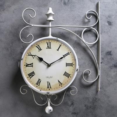 """Часы настенные двойные, серия: Садовые, """"Мерано"""", белые, d=24 см, 46х29 см (под старину)"""