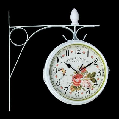 """Часы настенные двойные, серия: Садовые, """"Розы"""", белые, d=17 см"""