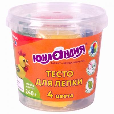 Пластилин на растительной основе (тесто для лепки) ЮНЛАНДИЯ, 4 цвета, 240 г, пластиковый стакан, 105505