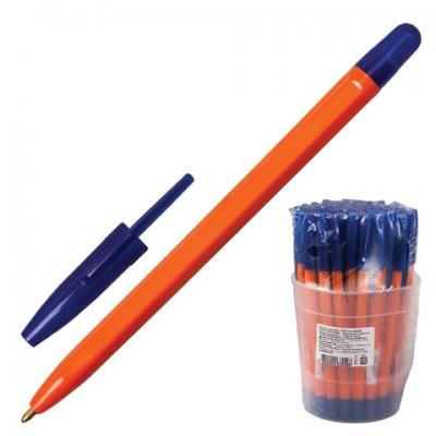 """Ручка шариковая СТАММ """"111"""", СИНЯЯ, корпус оранжевый, узел 1,2 мм, линия письма 1 мм, РС11"""