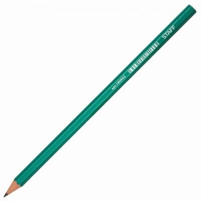 Карандаш чернографитный STAFF, 1 шт., НВ, без резинки, пластиковый, корпус зеленый, заточенный, 180962
