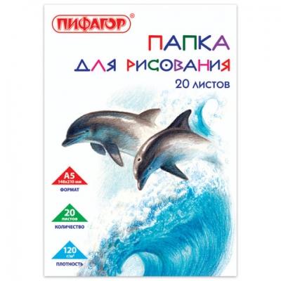 """Папка для рисования А5, 20 листов, 120 г/м2, ПИФАГОР, 148х210 мм, """"Дельфины"""", 129225"""