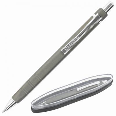 Ручка бизнес-класса шариковая BRAUBERG Opus, СИНЯЯ, корпус серый с хромом, линия 0,5м, 143493