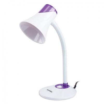 Светильник настольный SONNEN OU-607, на подставке, цоколь Е27, белый/фиолетовый, 236682