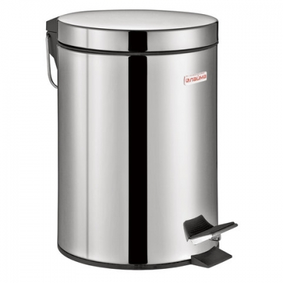 """Ведро-контейнер для мусора (урна) с педалью ЛАЙМА """"Classic"""", 3 л, зеркальное, нержавеющая сталь, со съемным внутренним ведром, 604942"""
