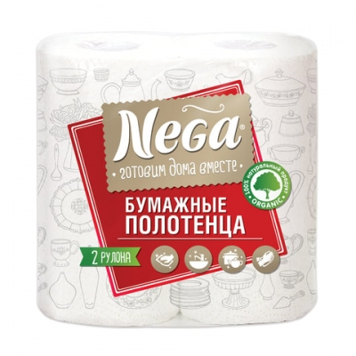 "Полотенца бумажные бытовые, спайка 2 штуки, 2-х слойные (2х13,2 м), NEGA (""Нега""), белые"