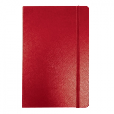 """Блокнот МАЛЫЙ ФОРМАТ (95х145 мм) А7+, BRAUBERG """"Select"""", 64 л., зернистый кожзаменитель, резинка, линия, красный, 128049"""