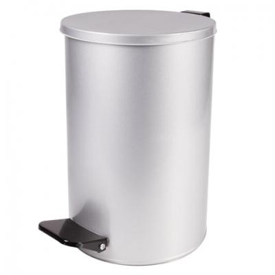 Ведро-контейнер для мусора с педалью УСИЛЕННОЕ, 10 л, кольцо под мешок, серое, оцинкованная сталь