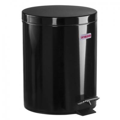 """Ведро-контейнер для мусора (урна) с педалью ЛАЙМА """"Classic"""", 5 л, черное, глянцевое, металл, со съемным внутренним ведром, 604943"""